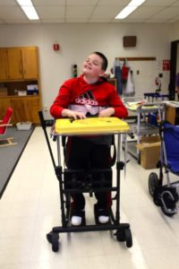 Photo of a student using a wheelchair
